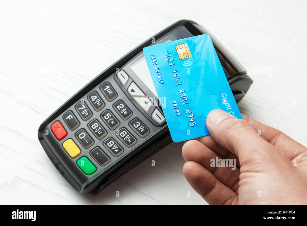 POS terminal, Payment Machine with credit card on white background