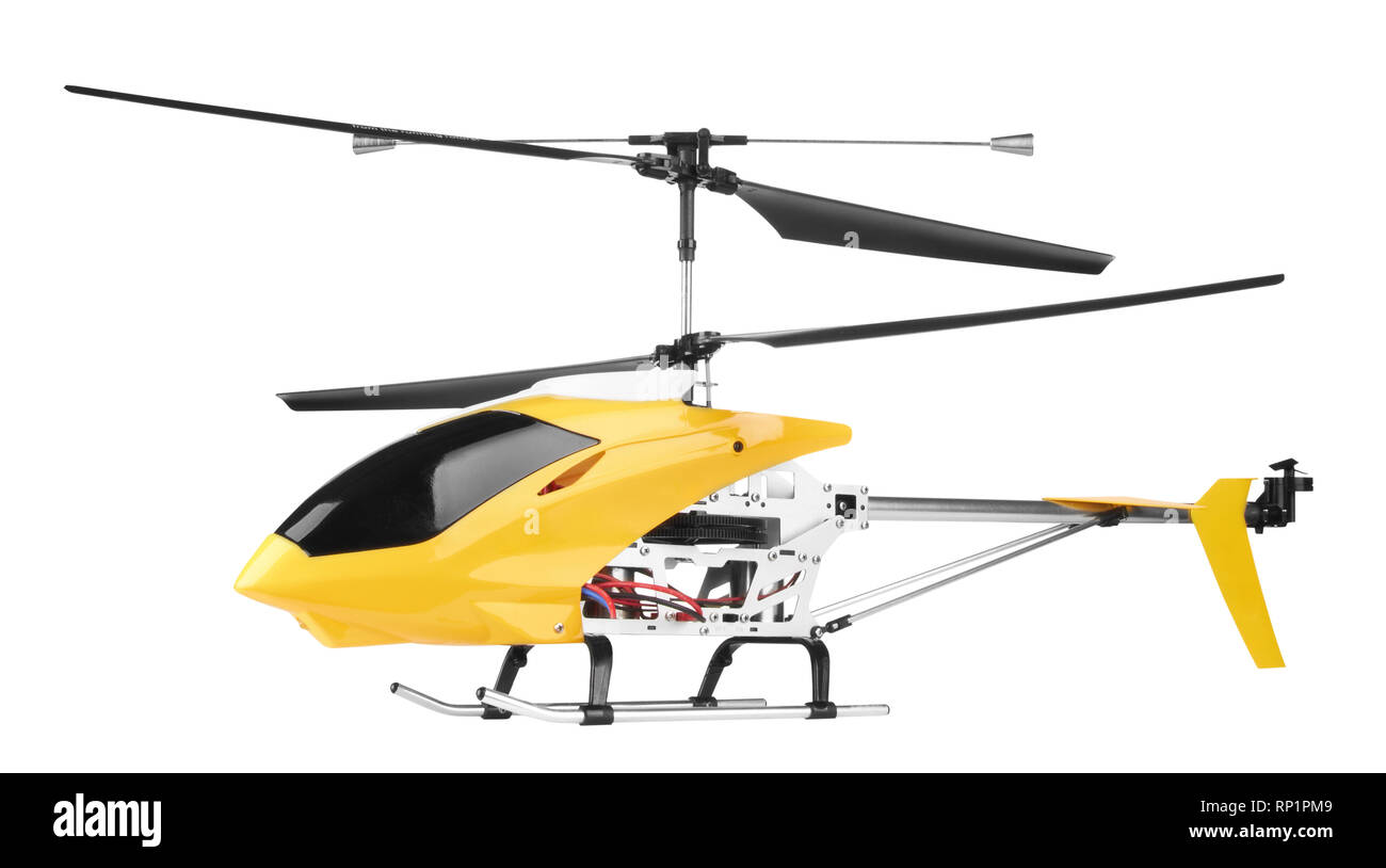 Model radio-controlled helicopter isolated on a white background - Stock Image
