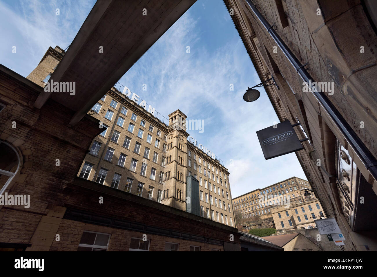 Halifax, West Yorkshire. The regenerated Dean Clough Mills. - Stock Image