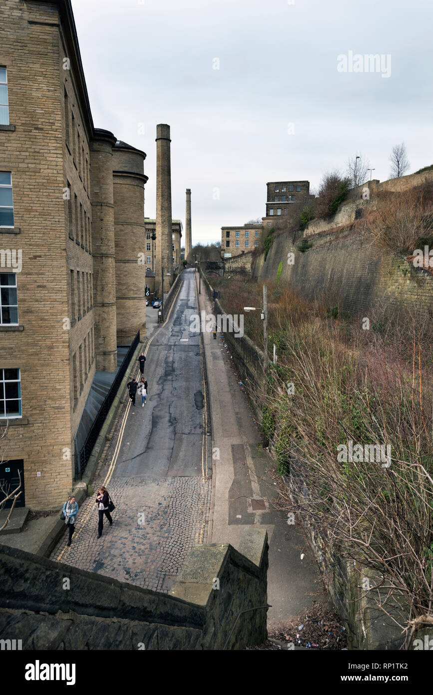 Halifax, West Yorkshire. A view up Old Lane, next to Dean Clough Mills. This famous view was photographed by Bill Brandt in 1937. - Stock Image