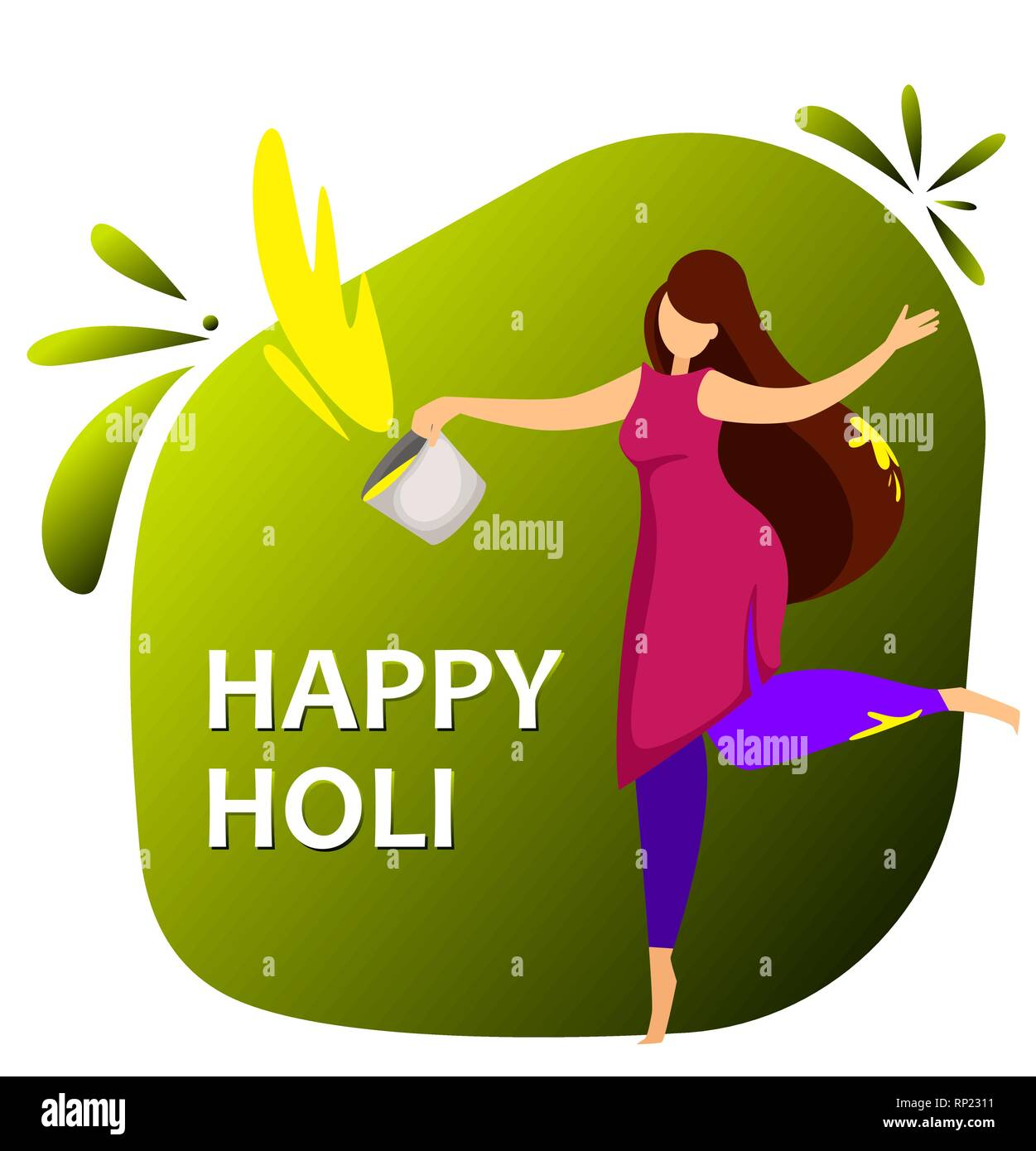 Happy Holi Woman Celebrating Traditional Indian Festival Of