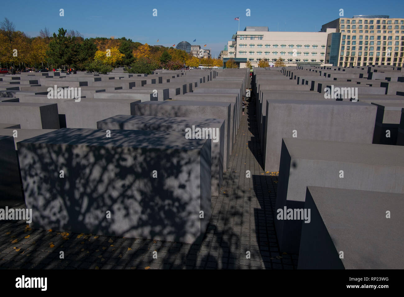 Memorial to the Murdered Jew of Europe, designed by Peter Eisenman, in Berlin, Germany. - Stock Image