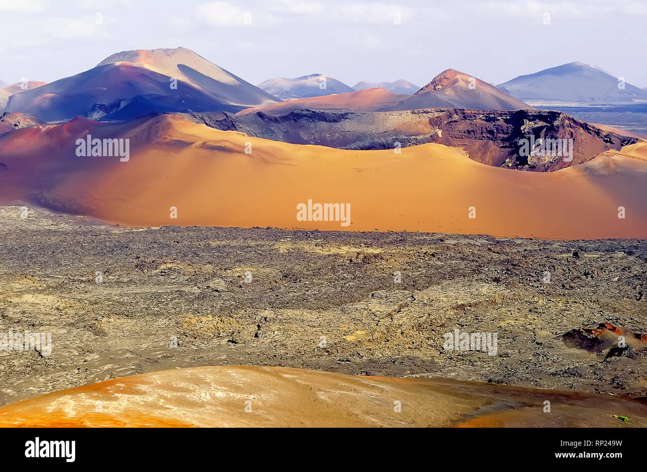 Montanas Del Fuego Volcanoes Timanfaya National Park Lanzarote Canary Islands Spain Europe Stock Photo Alamy