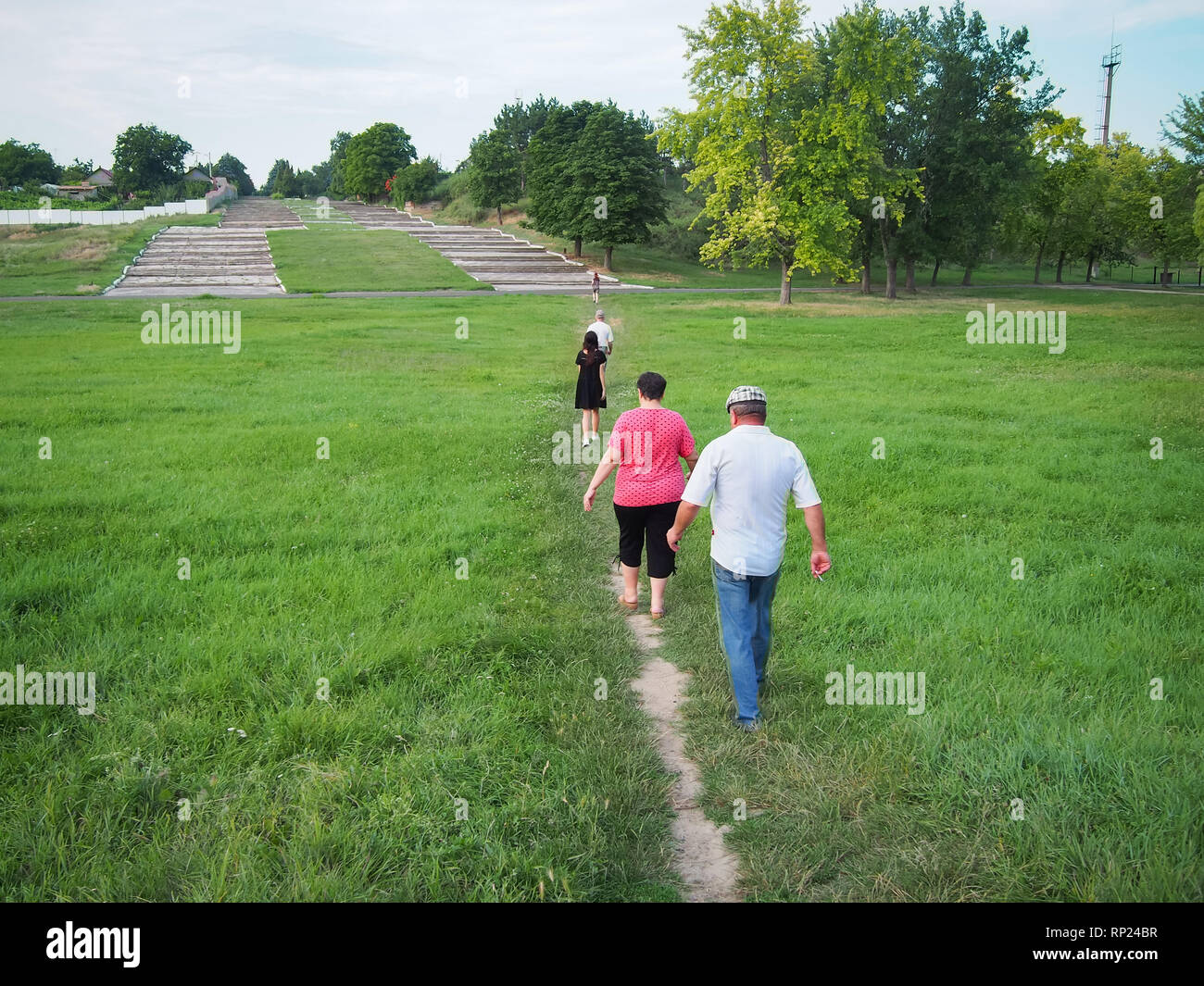 People follow the path one after another - Stock Image