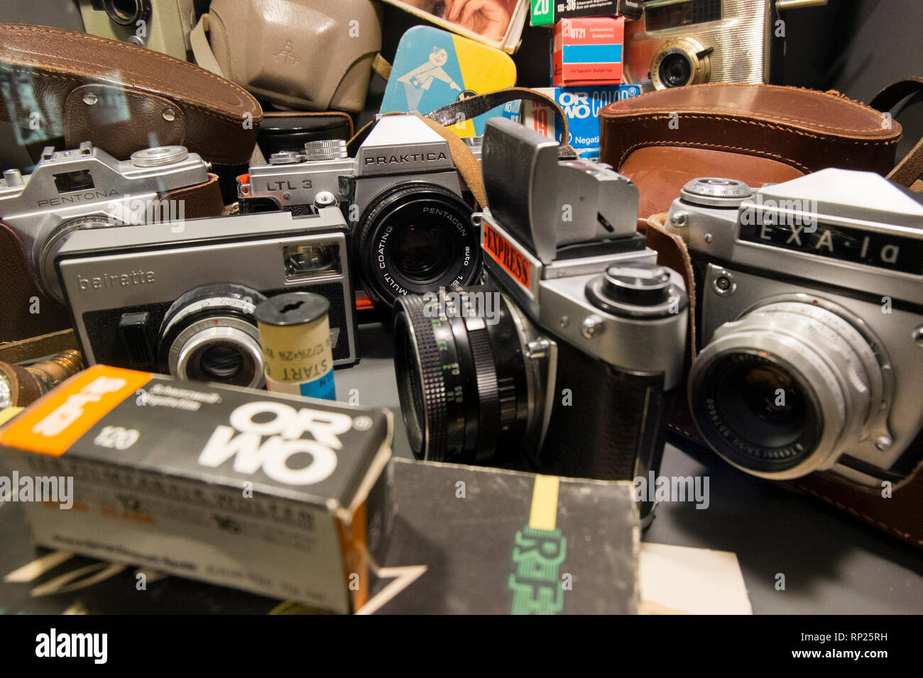 The DDR museum in Berlin, Germany. Iron Curtain cameras. - Stock Image