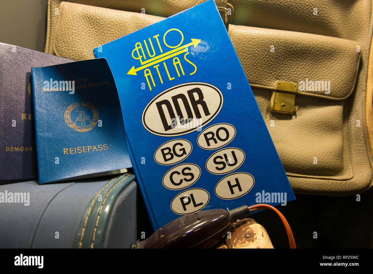 The DDR museum in Berlin, Germany. A travel guide, atlas for East Germany. - Stock Image