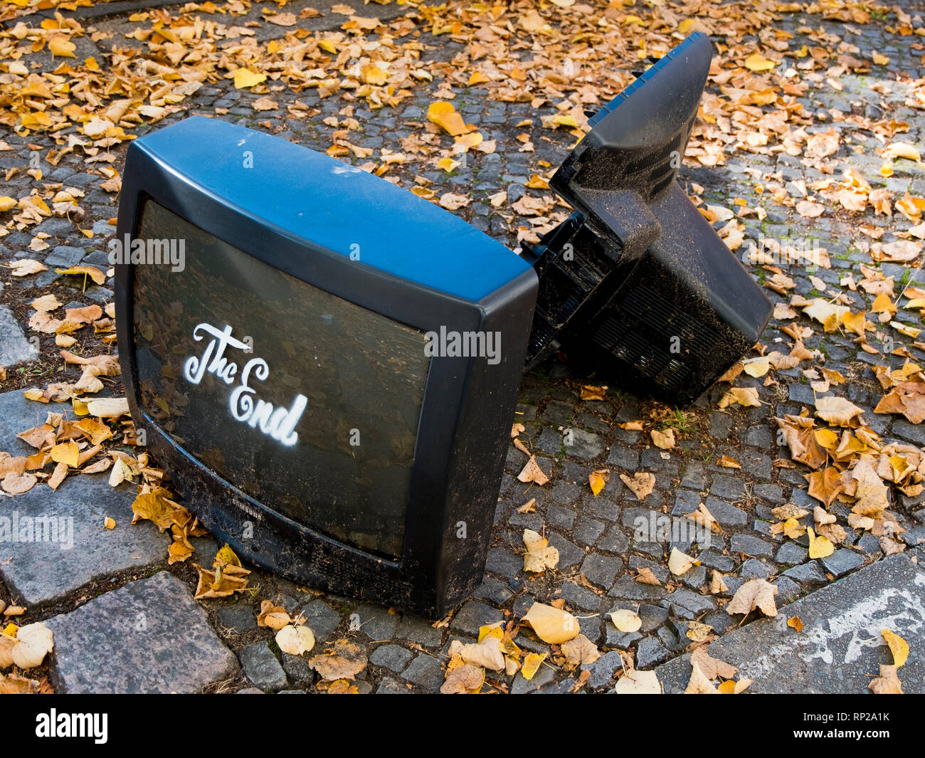 Someone had fun throwing out their old Television in Berlin, Germany. - Stock Image