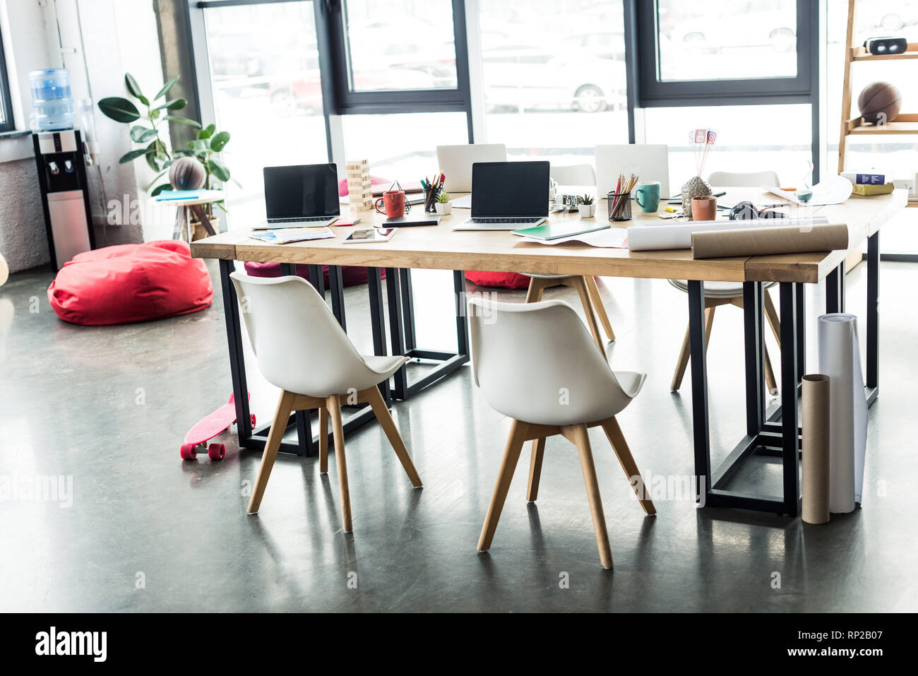 Modern Design Of Spacious Loft Office With Chairs And Computer Desk