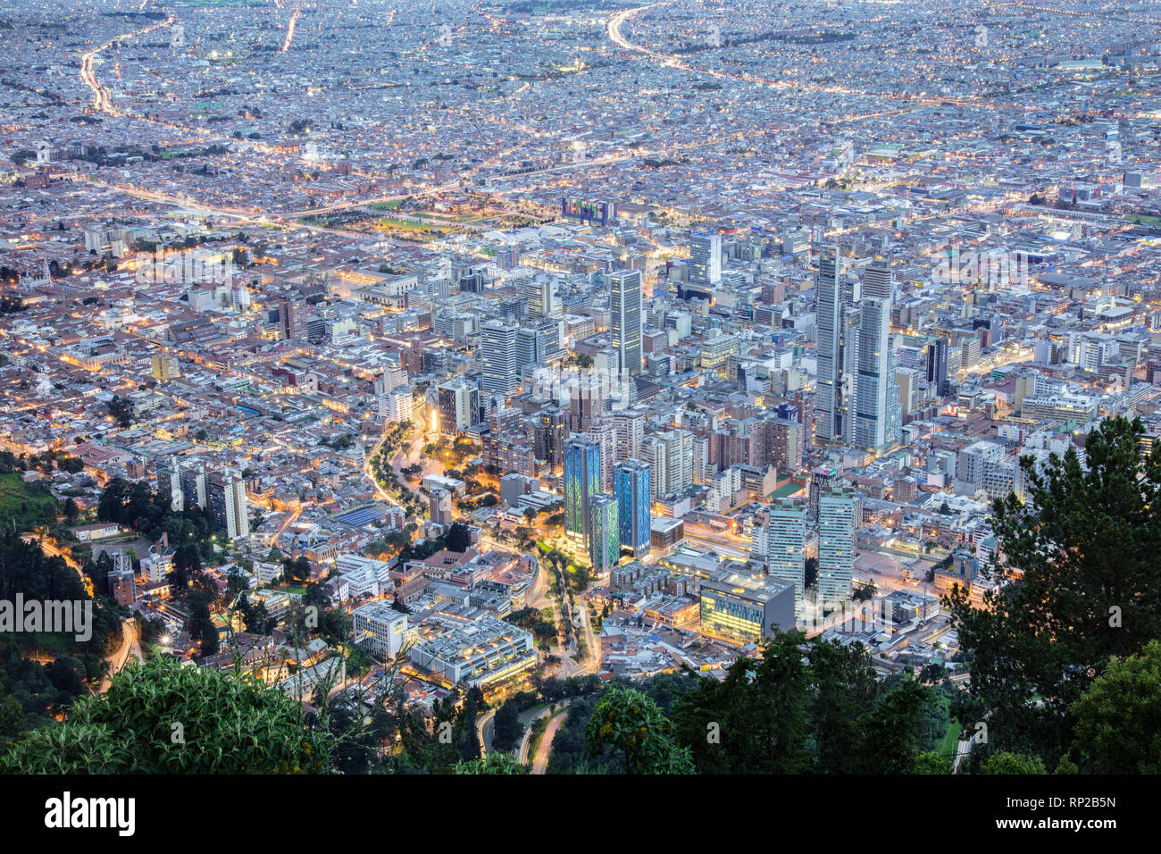 Colombia, Bogota, the Central Business District in the capital city at dusk - Stock Image