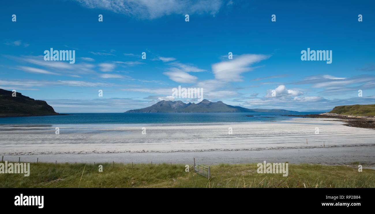 Laig Beach in summer, Isle of Eigg - Stock Image