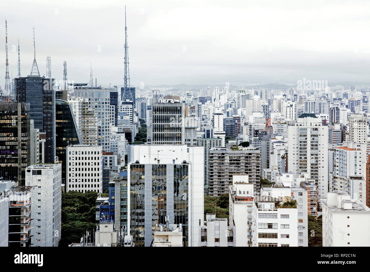 Daylight shot of the skyline of Central Sao Paulo, Brazil - Stock Image