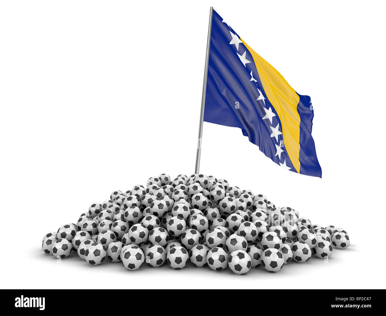 Pile of Soccer footballs and flag. Image with clipping path - Stock Image