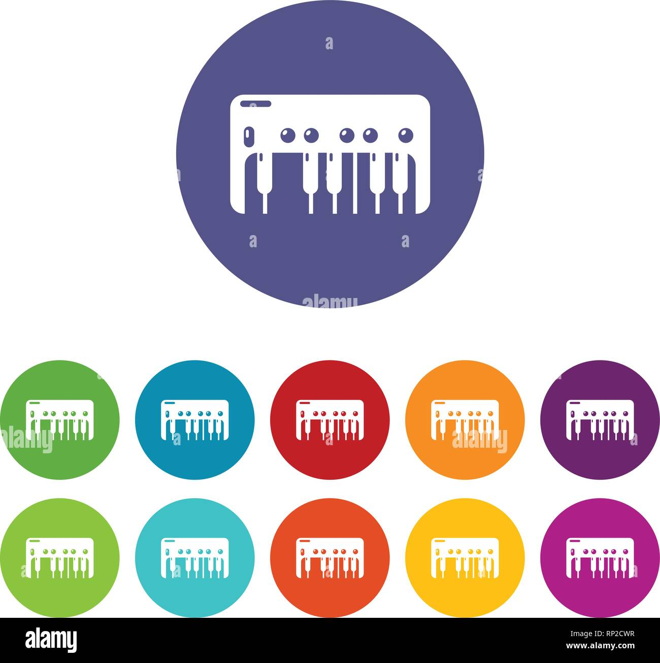 Synthesizer piano icons set vector color - Stock Image