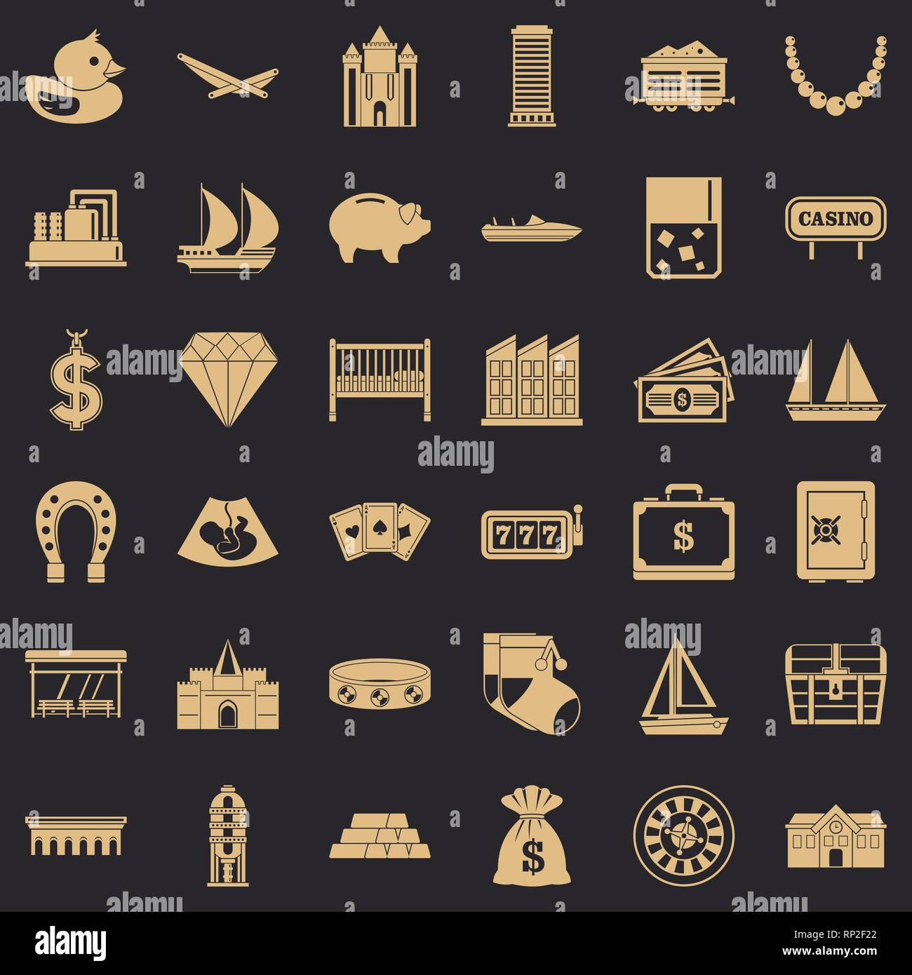 Riches icons set, simple style - Stock Image