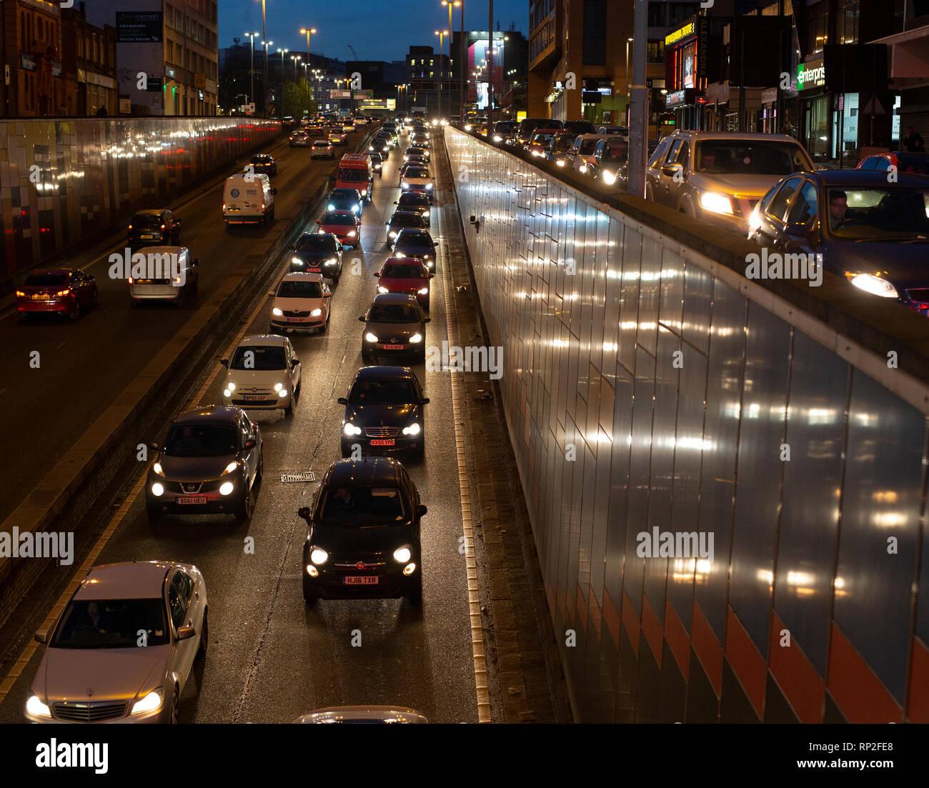 Rush hour traffic in Birmingham city centre, UK - Stock Image