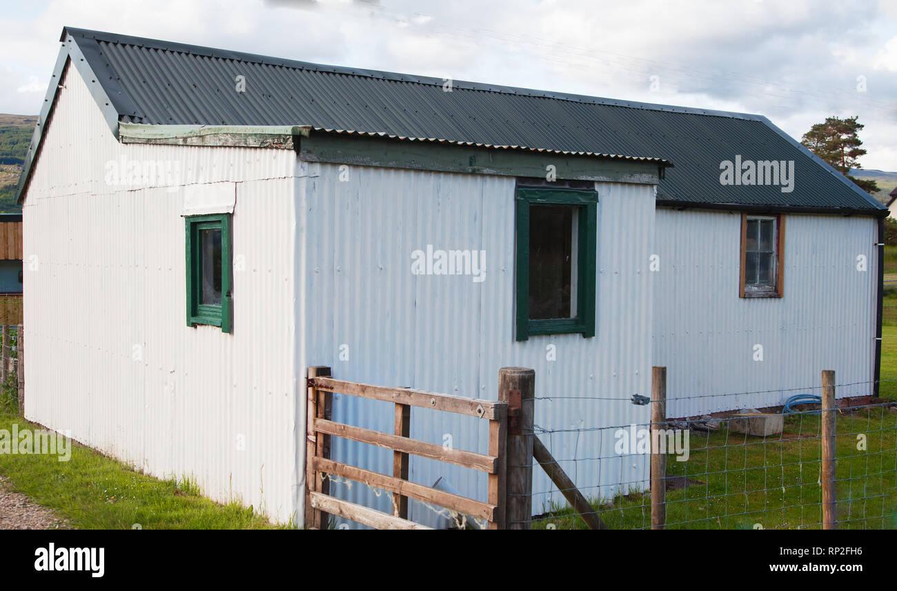 Old Whitewashed Crofters Cottage near FortWilliam in the Scottish Western Highlands.UK Stock Photo