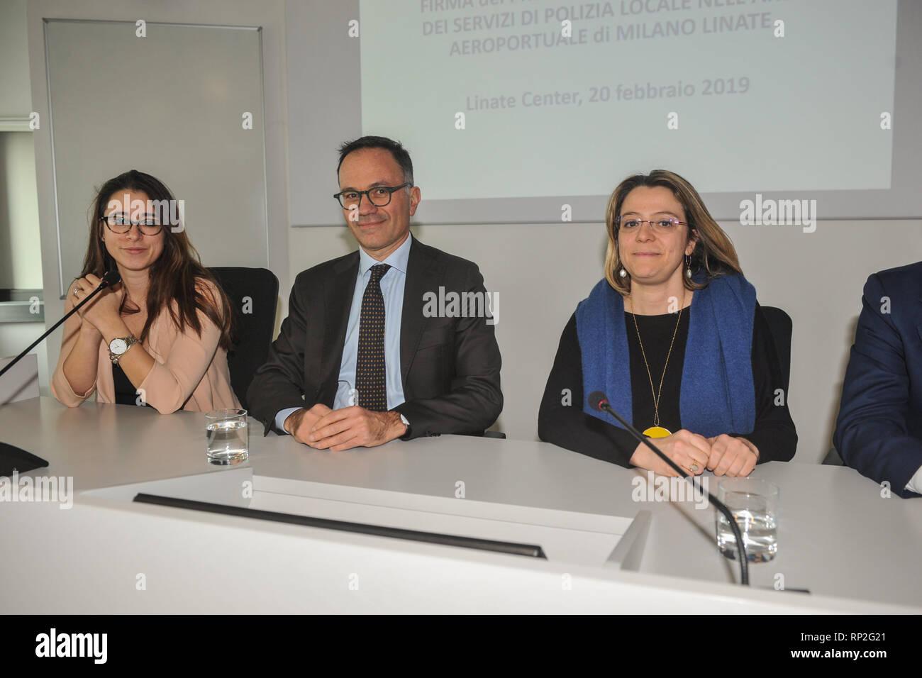Foto LaPresse - Matteo Corner  20/02/2019 Milano (Italia) cronaca  Firma protocollo d'intesa all'Aeroporto di Linate - Stock Image