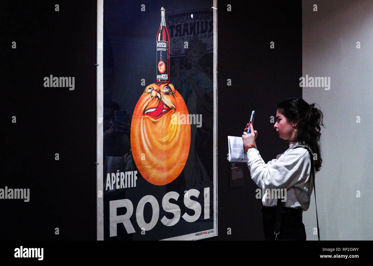 MOSCOW, RUSSIA - FEBRUARY 20, 2019: A poster by Jean Droit on display at an exhibition titled 'Afishemania', containing items of French commercial art dating from the turn of the 20th century, and held at the Pushkin State Museum of Fine Arts. Alexander Shcherbak/TASS - Stock Image