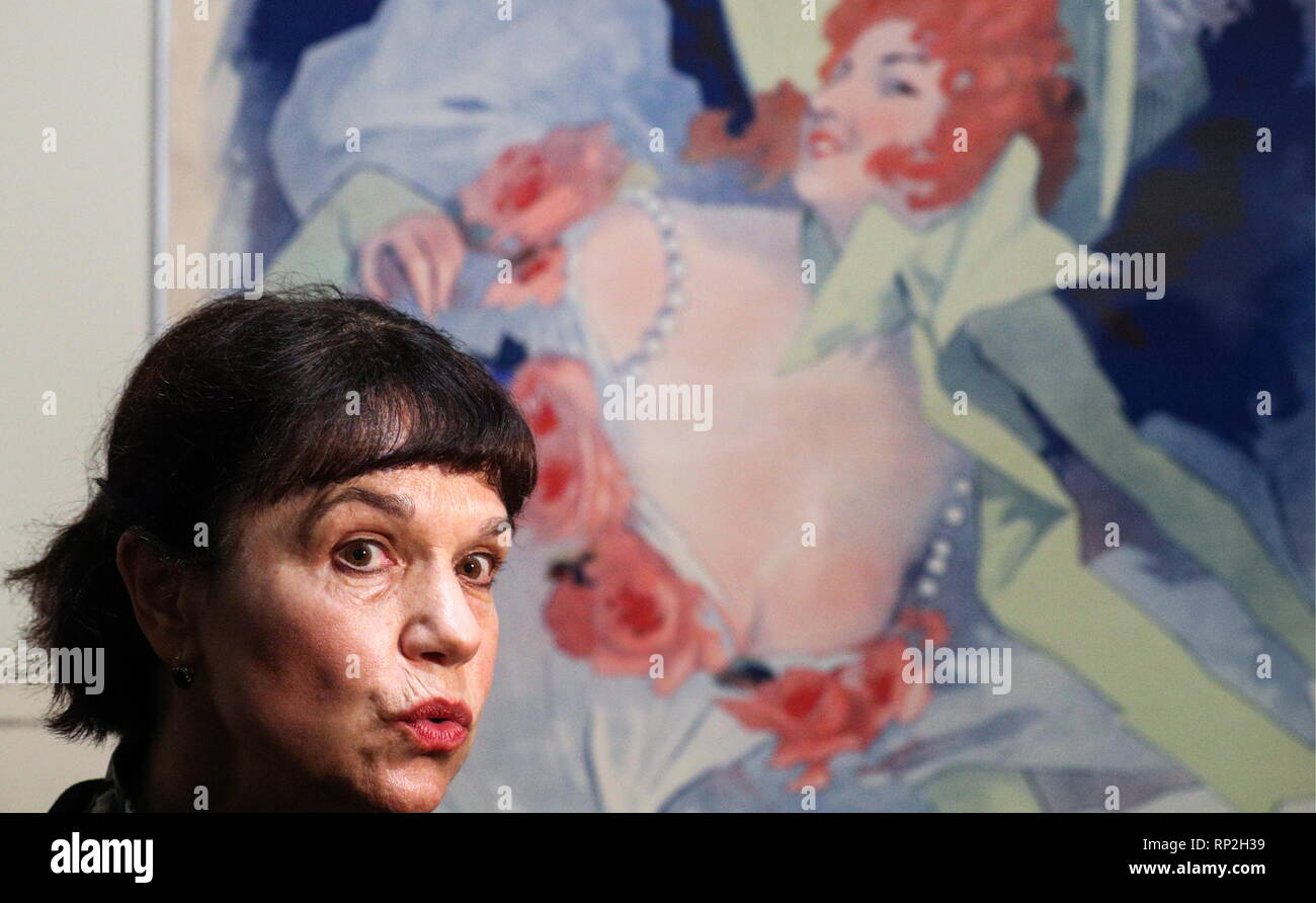 MOSCOW, RUSSIA - FEBRUARY 20, 2019: Marina Loshak, Director of the Pushkin State Museum of Fine Arts, attends the museum's exhibition titled 'Afishemania' and containing items of French commercial art dating from the turn of the 20th century. Alexander Shcherbak/TASS - Stock Image