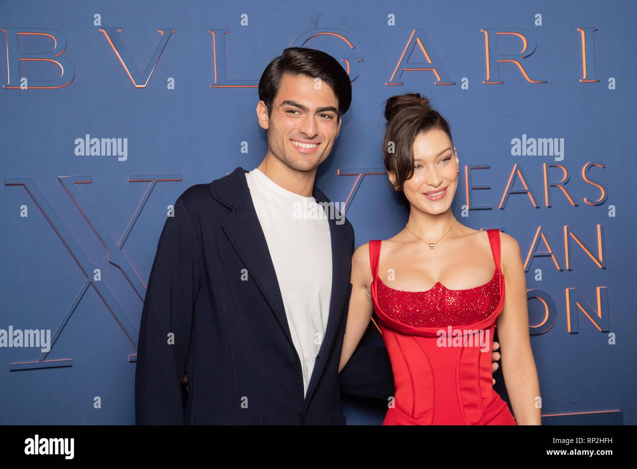 * NO WEB * NO DAILY NEWS * Rome, Bulgari party for the 20th anniversary In the picture: Matteo Bocelli, Bella Hadid - Stock Image