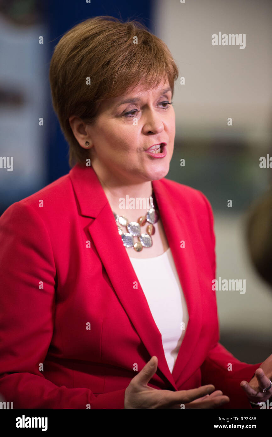 Glasgow, UK. 20 February 2019. First Minister, Nicola Sturgeon gives media interviews at Scotland's International Marine Conference in Glasgow. Credit: Colin Fisher/Alamy Live News - Stock Image