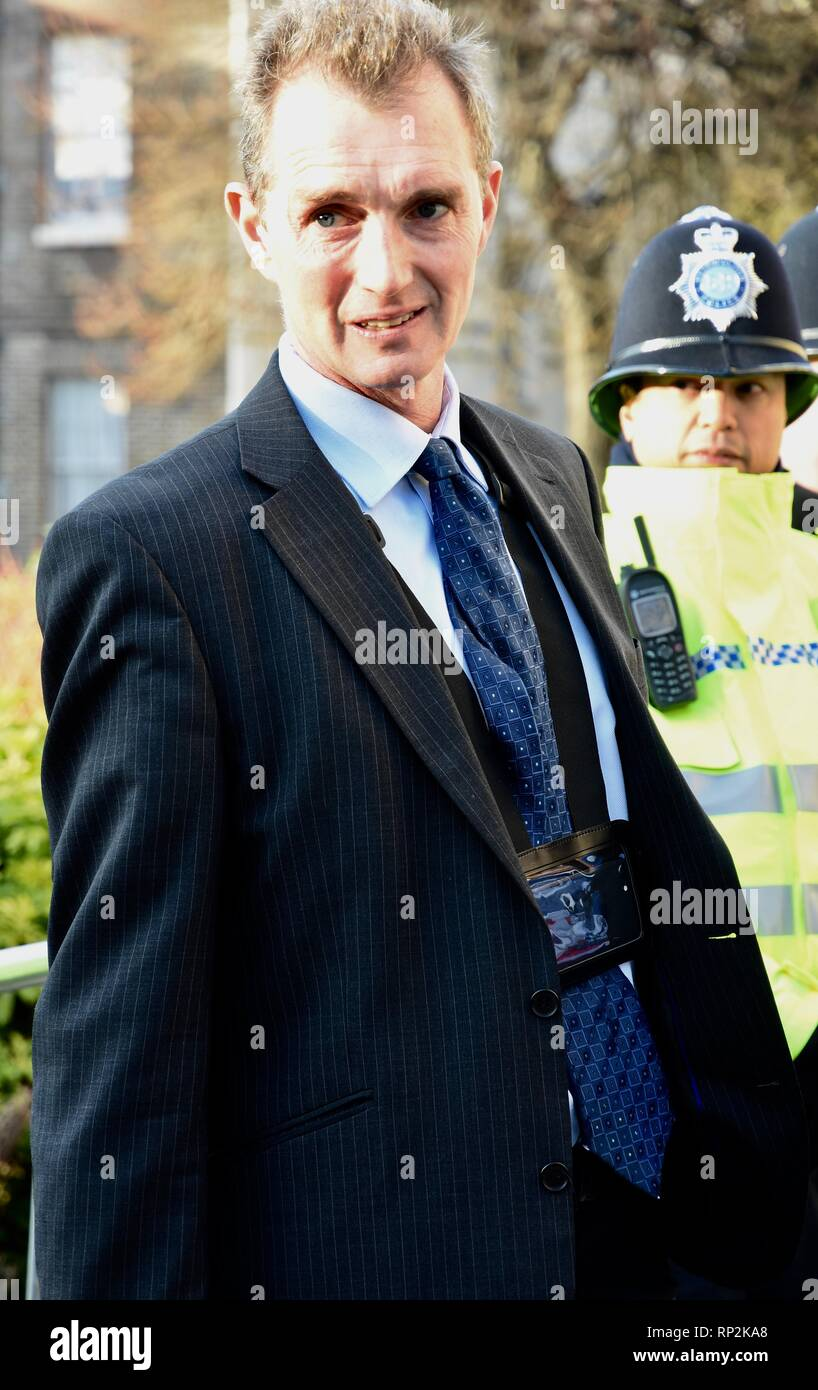 London, UK. 20th Feb, 2019. David Davies M.P. The Conservative MP gave interviews to the media on the day that three Conservative M.P's joined The Independent Group.College Green,Houses of Parliament,Westminster,London.UK Credit: michael melia/Alamy Live News - Stock Image