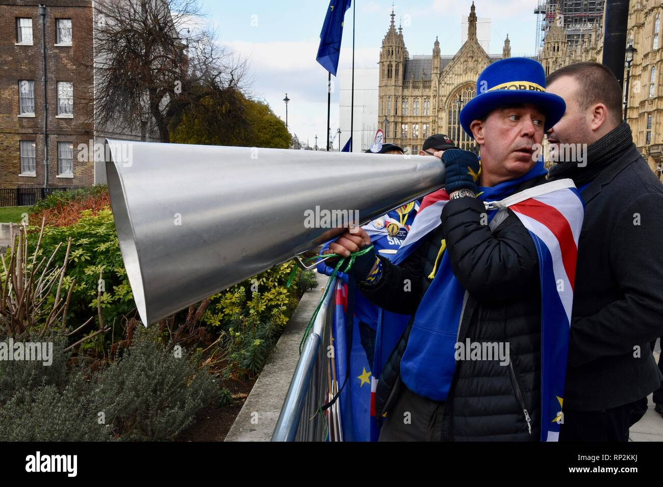 London, UK. 20th Feb, 2019. Steve Bray,Activist,SODEM Demonstration,College Green,Houses of Parliament,Westminster,London.UK Credit: michael melia/Alamy Live News - Stock Image