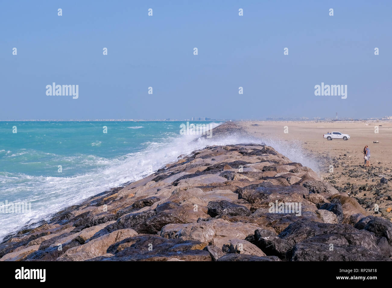 Abu Dhabi, UAE  20th February 2019  High wind and rough sea