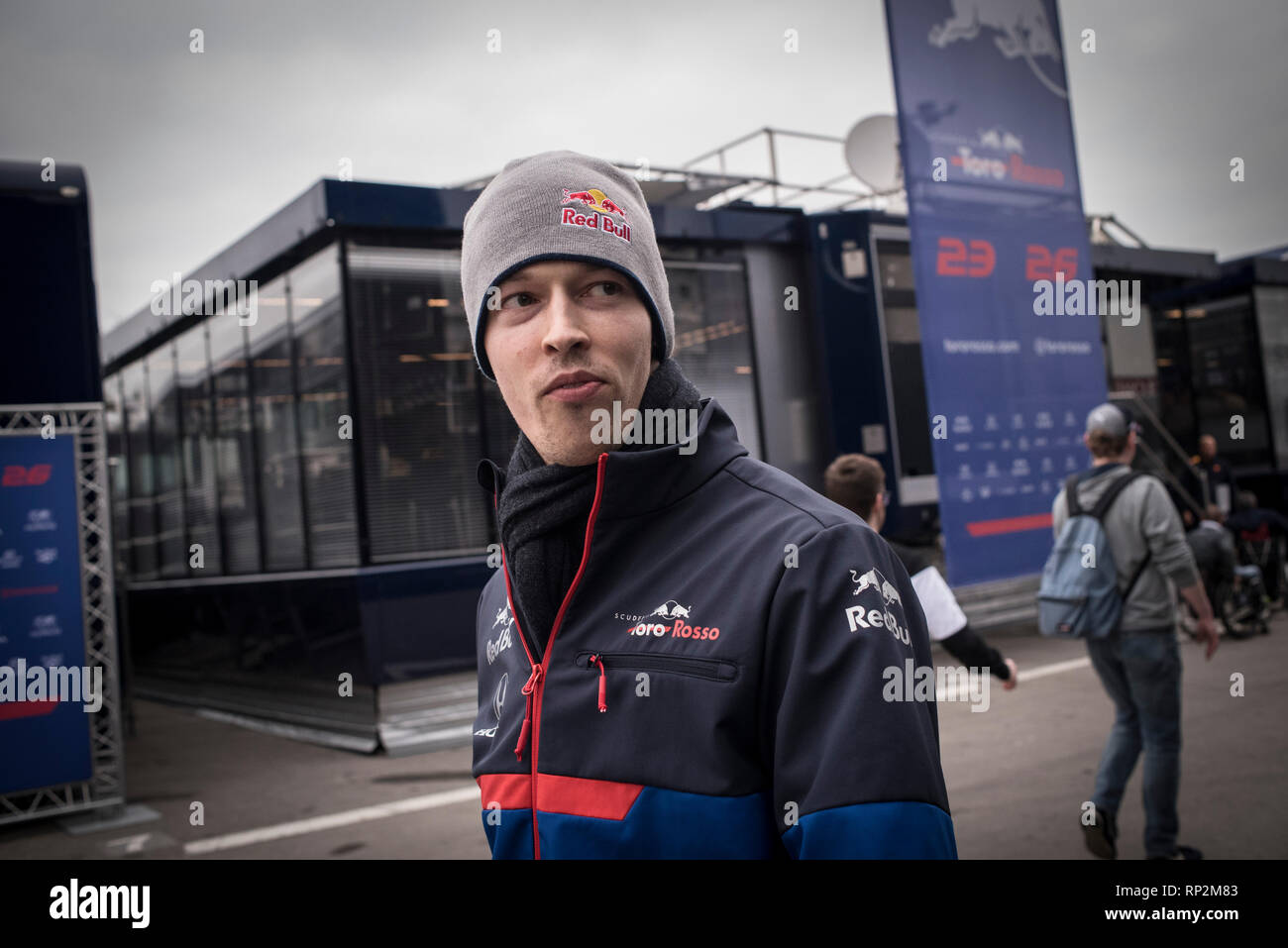 Barcelona, Spain. 20th Feb, 2019.  Daniil Kvyat of Toro Rosso F1 Team   in the Paddock area  at the Circuit de Catalunya in Montmelo (Barcelona province) during the pre-season testing session. Credit:  Jordi Boixareu/Alamy Live News - Stock Image