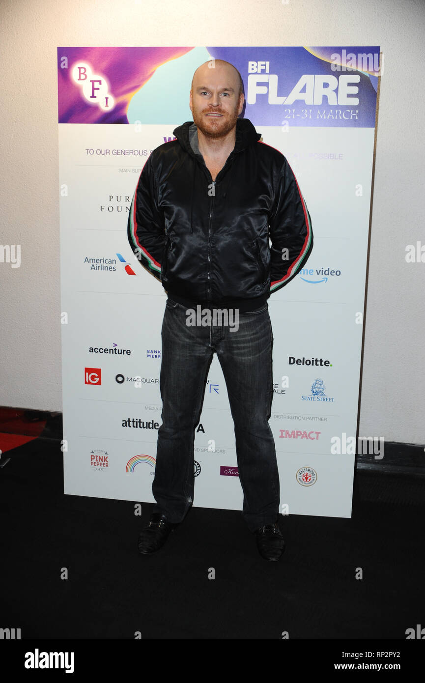 London, UK. 20th Feb, 2019. Philip Christopher Baldwin, a prominent LGBT Activist seen during the LGBT Film Festival Launch at BFI Southbank, London. Credit: Terry Scott/SOPA Images/ZUMA Wire/Alamy Live News - Stock Image