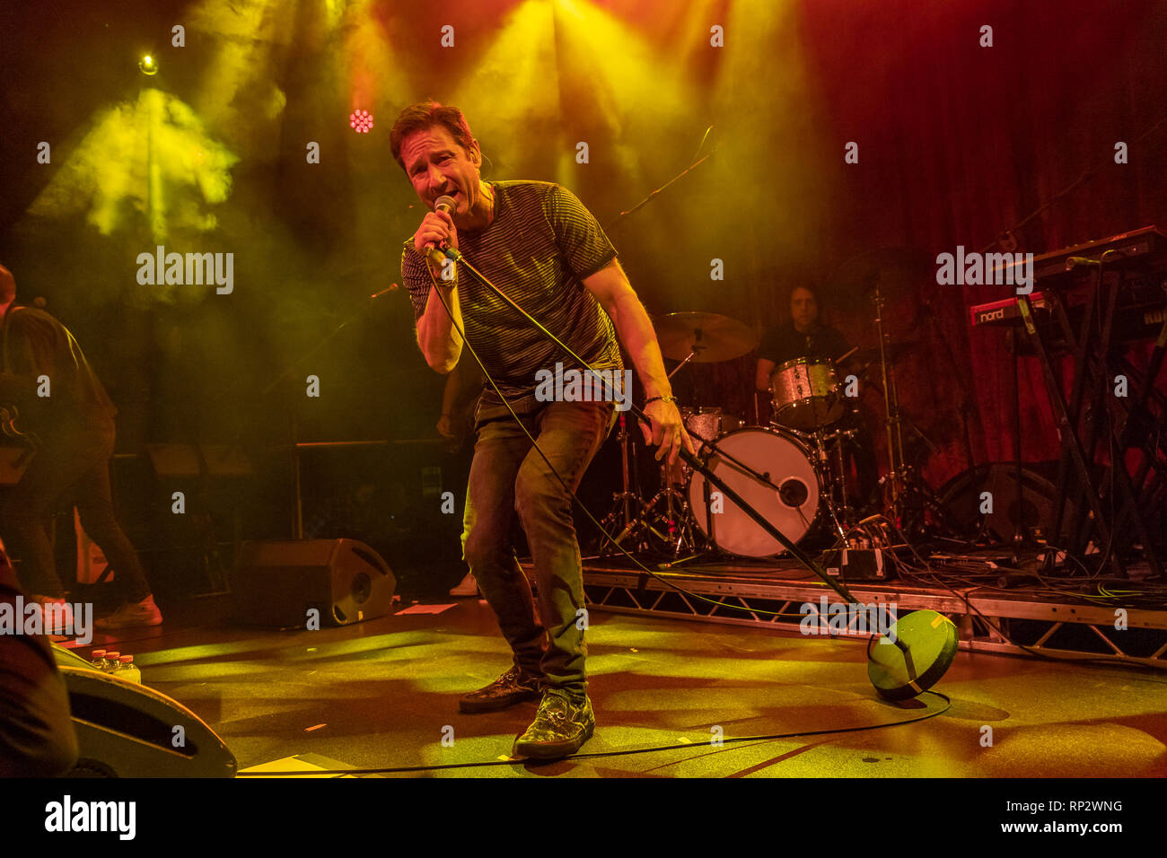 Dublin, Ireland. 20th Feb, 2019. X Files actor David Duchovny (Fox Mulder) sings on stage in Dublin's Academy music  venue. Credit: SOPA Images Limited/Alamy Live News Stock Photo