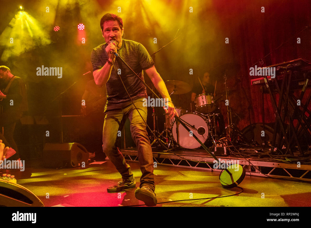 Dublin, Ireland. 20th Feb, 2019. X Files actor David Duchovny (Fox Mulder) sings on stage in Dublin's Academy music  venue. Credit: SOPA Images Limited/Alamy Live News - Stock Image
