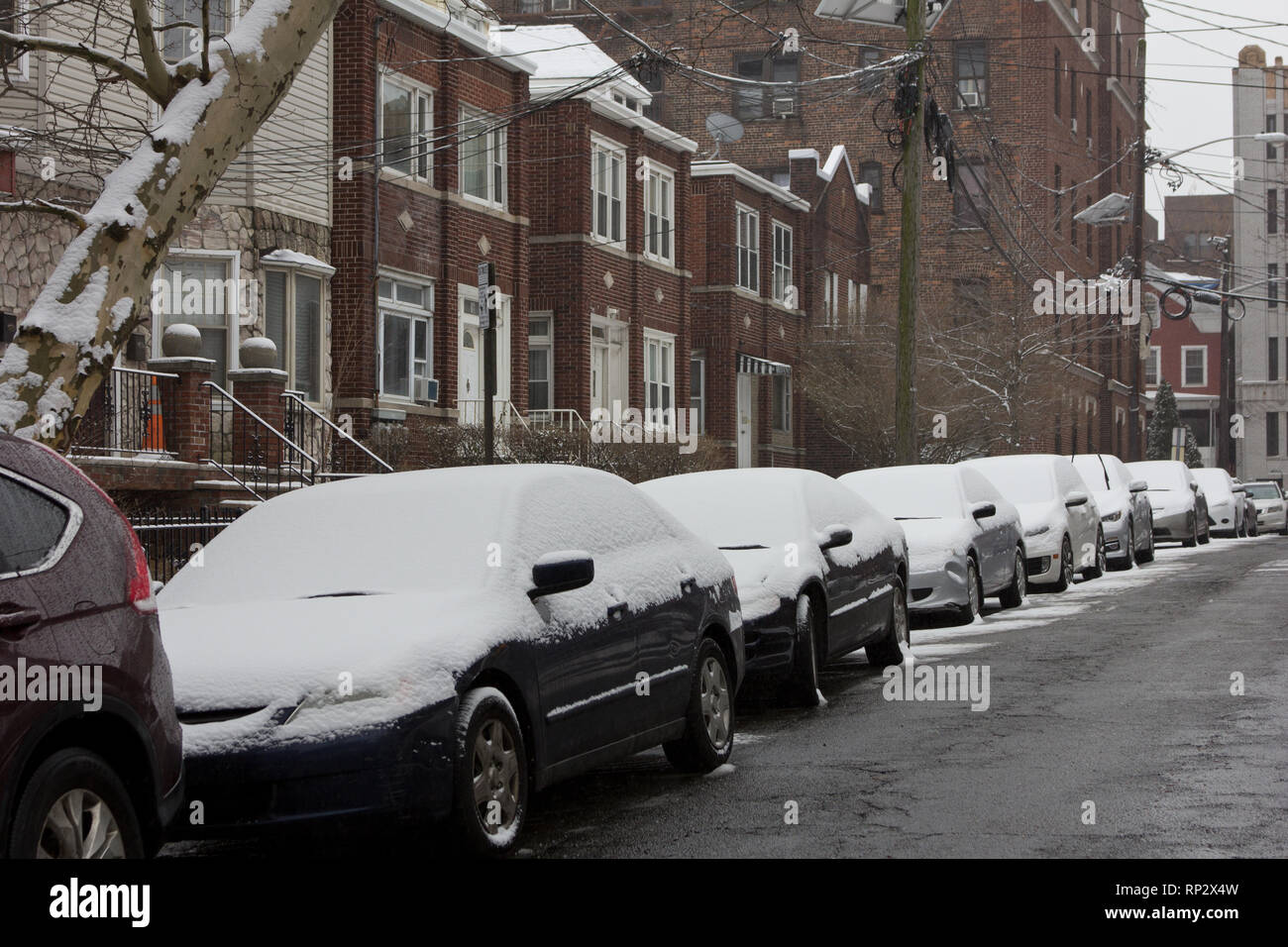 Jersey City, USA  20th February, 2019  Accumulated fresh snow on a