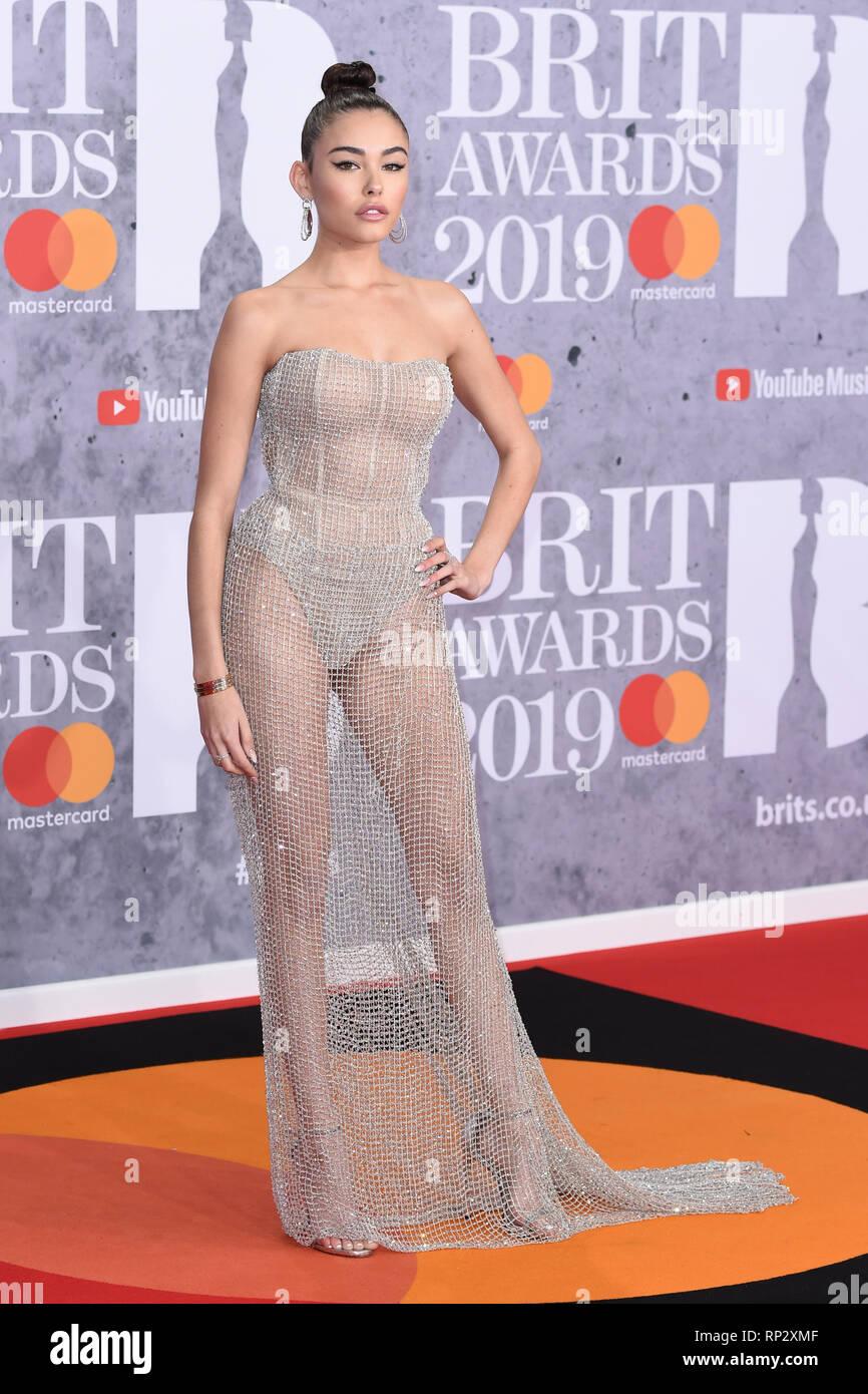 1fef2196e1b1 LONDON, UK. February 20, 2019: Madison Beer arriving for the BRIT Awards