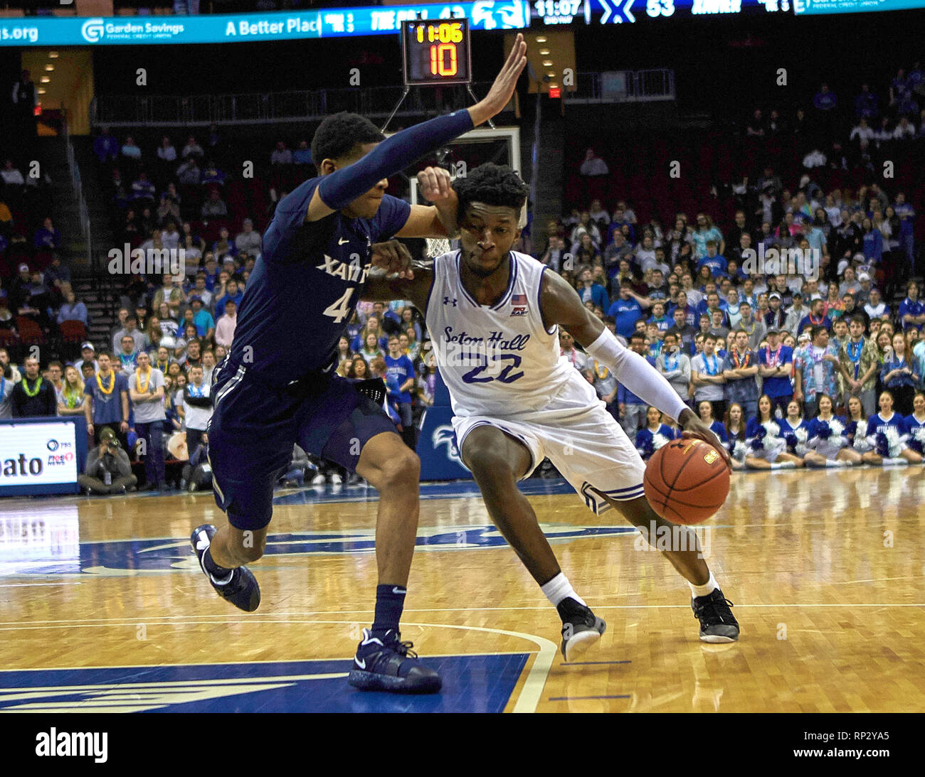 4d67dcf6c01 Seton Hall Pirates guard Myles Cale (22) gets pressure from Xavier  Musketeers guard Elias Harden (4) in the second half between the Xavier  Musketeers and ...