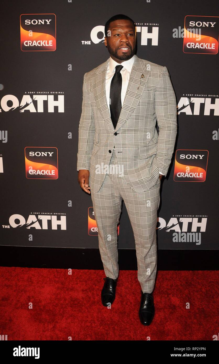 Los Angeles, CA, USA. 20th Feb, 2019. Curtis Jackson 50 Cent at arrivals for Sony Crackle THE OATH Season 2 Screening Presented by Lexus, Paloma, Los Angeles, CA February 20, 2019. Credit: Elizabeth Goodenough/Everett Collection/Alamy Live News - Stock Image