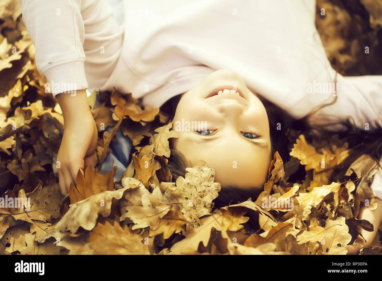 Adorable school age girl child - Stock Image