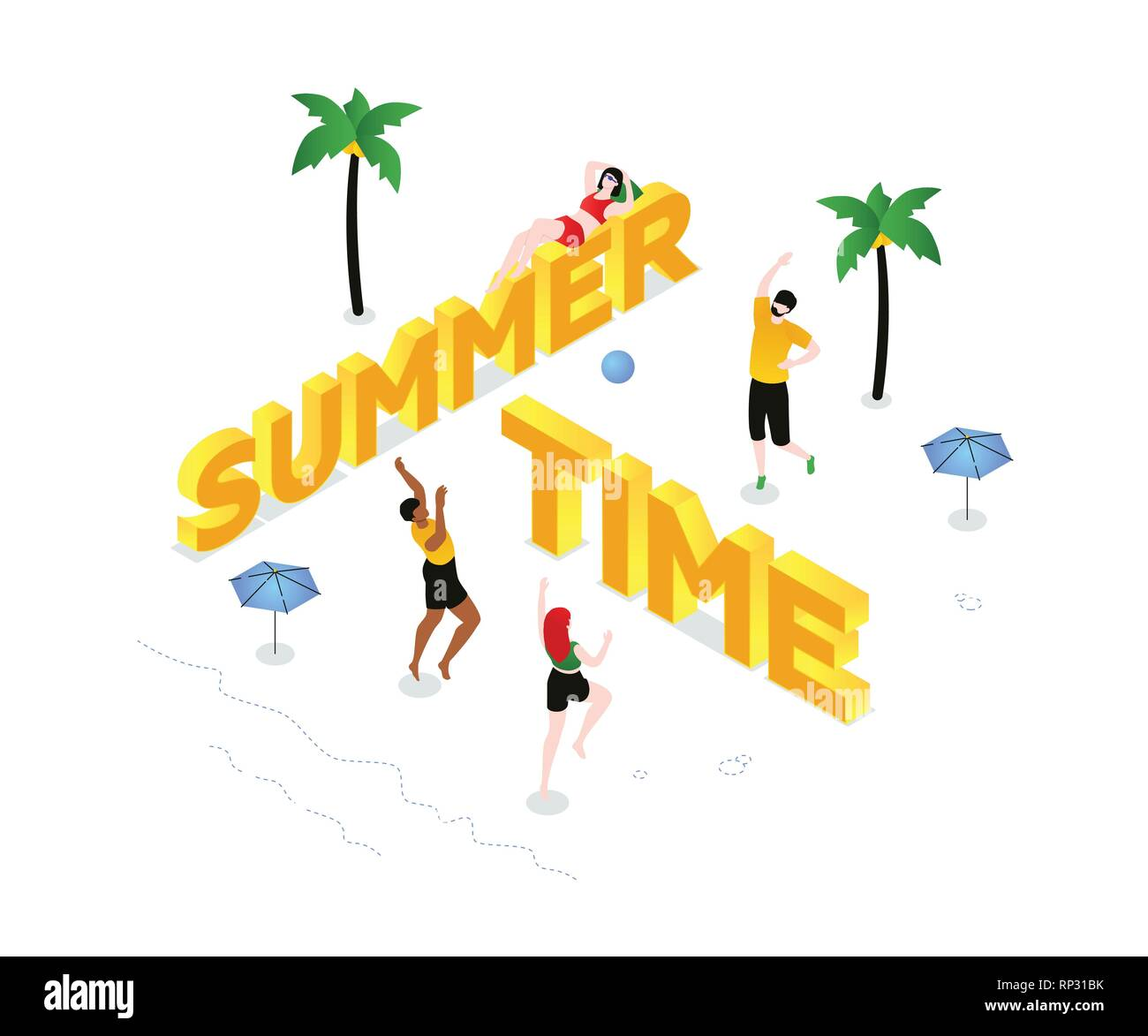 Summer time - modern colorful isometric vector illustration - Stock Vector