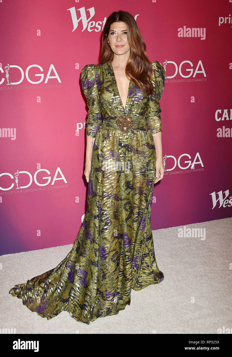 BEVERLY HILLS, CA - FEBRUARY 19: Marisa Tomei  arrives at the 21st CDGA (Costume Designers Guild Awards) at The Beverly Hilton Hotel on February 19, 2 - Stock Image
