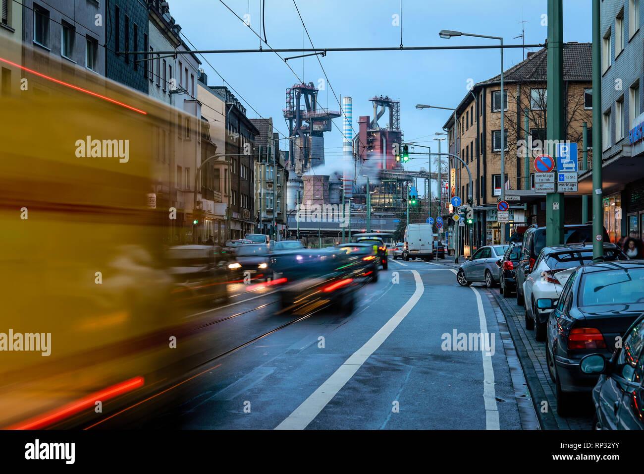 08.01.2019, Duisburg, North Rhine-Westphalia, Germany - City view with the ThyssenKrupp Huettenwerk in Duisburg-Bruckhausen, Bruckhausen is a district - Stock Image