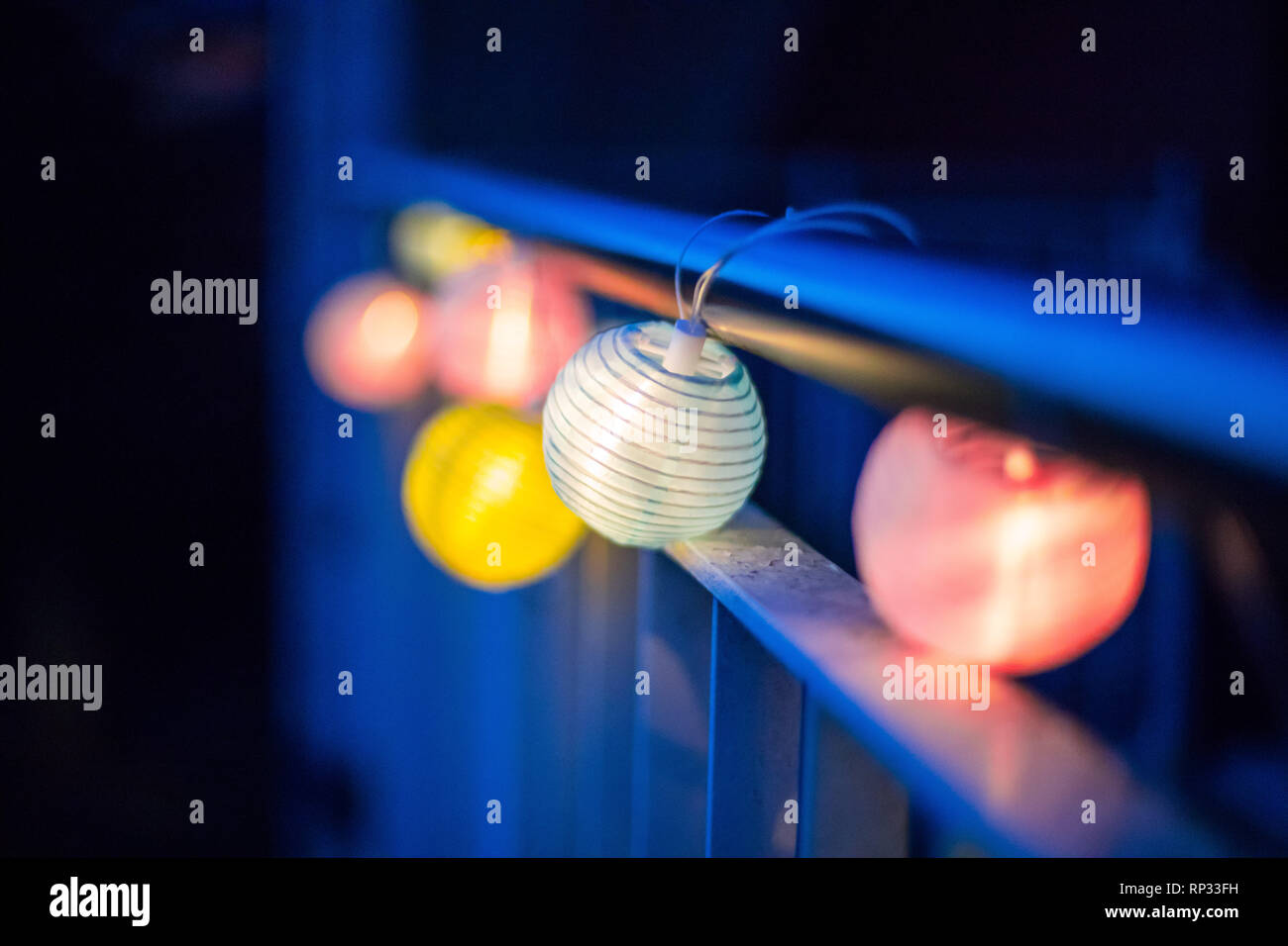 Colorful Lampions Outside Twilight Hour Garden Party Stock Photo