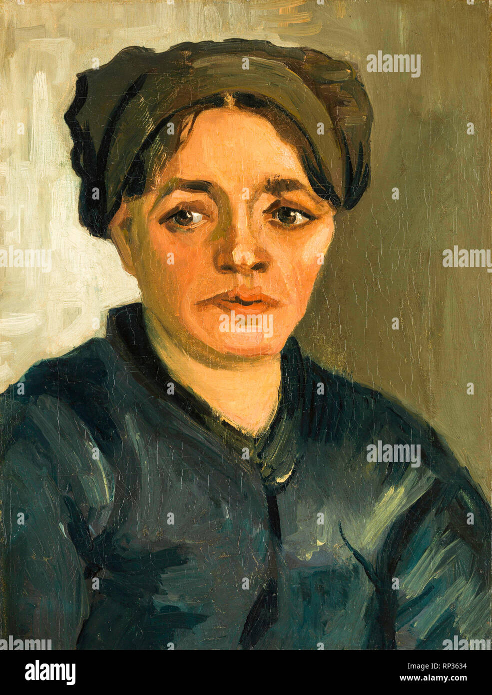 Head of a Peasant Woman, portrait, Vincent Van Gogh, 1884, painting - Stock Image