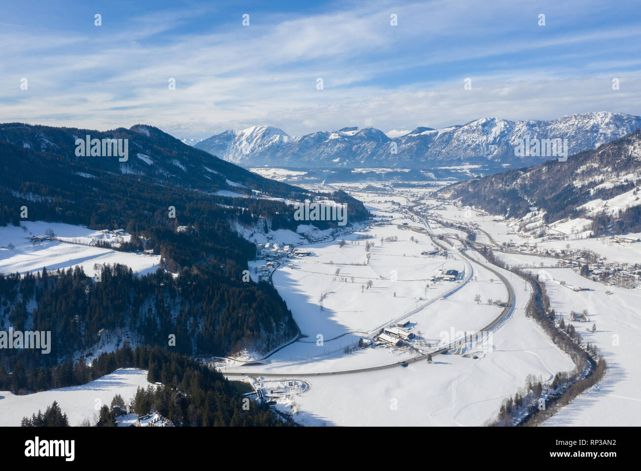 Panoramic view of the winter mountains in Alps Austria. View from above. Landscape photo captured with drone. Europe. - Stock Image