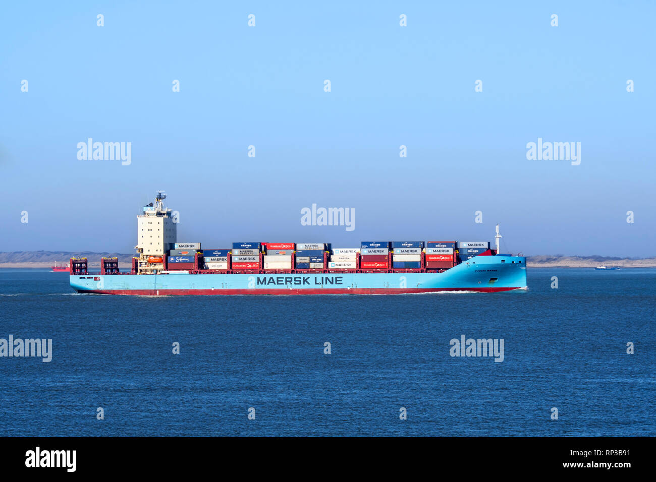 Vuoksi Maersk, ice-class feeder container ship / cargo ship from Maersk Line, Danish international container shipping company Stock Photo