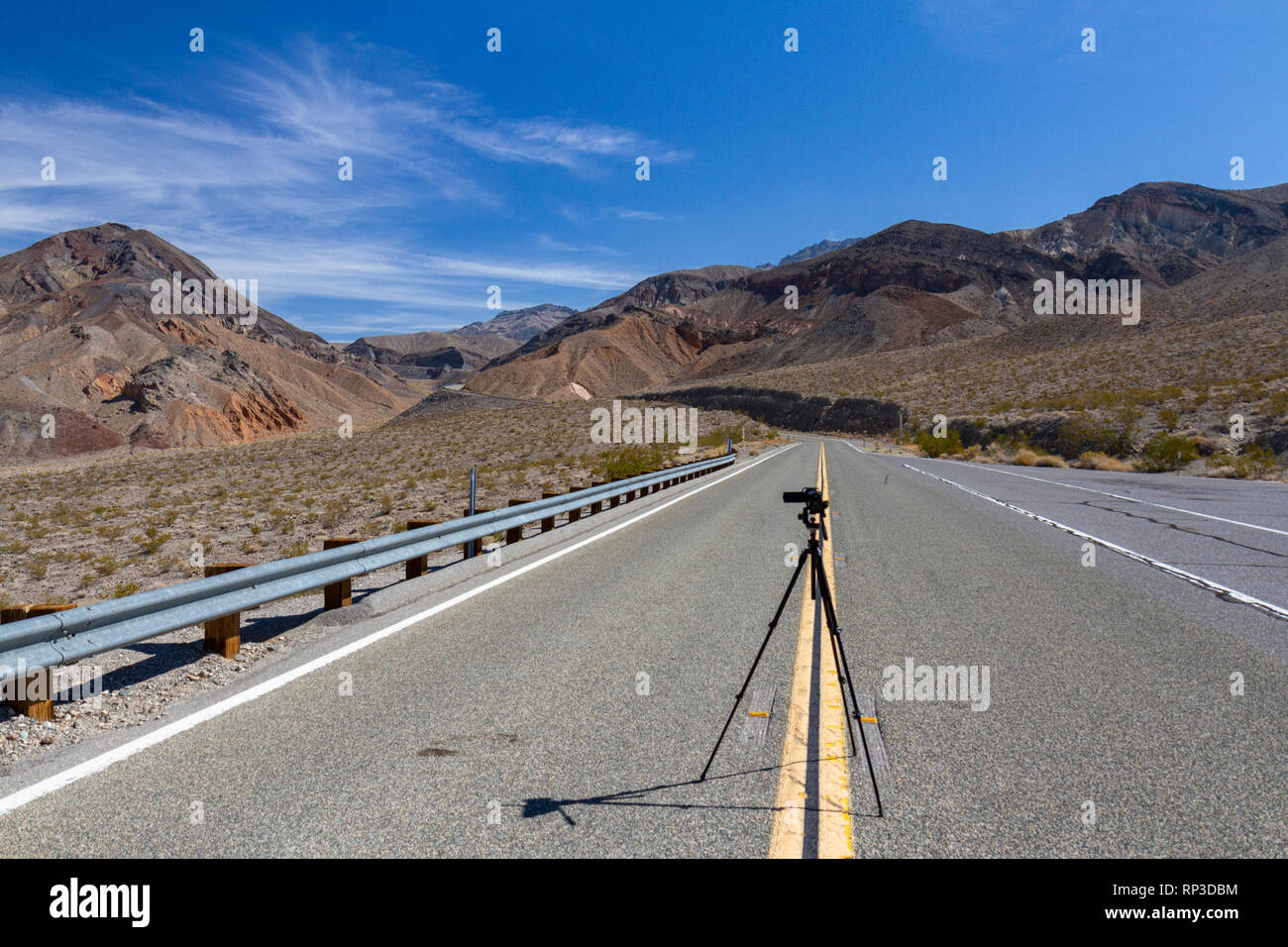 Video camera set up in the centre of the road towards Towne Pass on California State Route 190, Death Valley National Park, CA, USA. Stock Photo