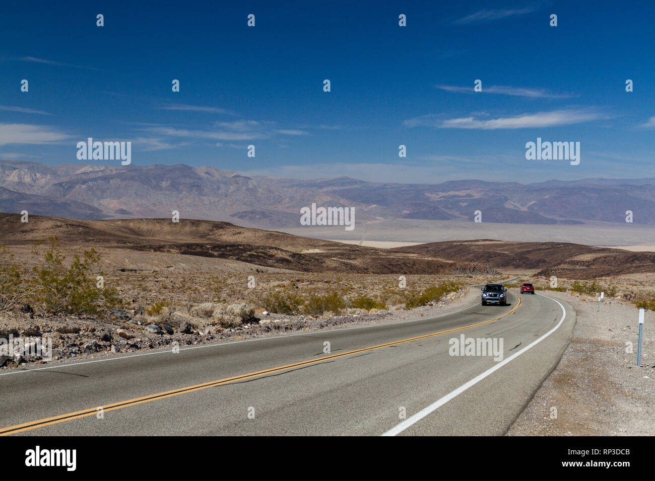 View approx west on California State Route 190 in the direction of Panamint Springs, Death Valley National Park, California, United States. Stock Photo