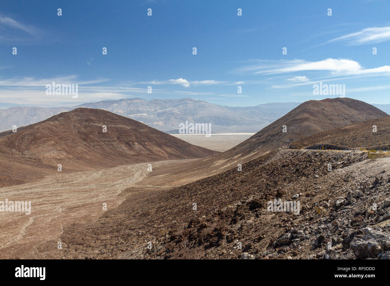View from Father Crowley Overlook looking west along Rainbow Canyon (the 'Star Wars Canyon') towards Death Valley, Death Valley National Park, CA, USA - Stock Image