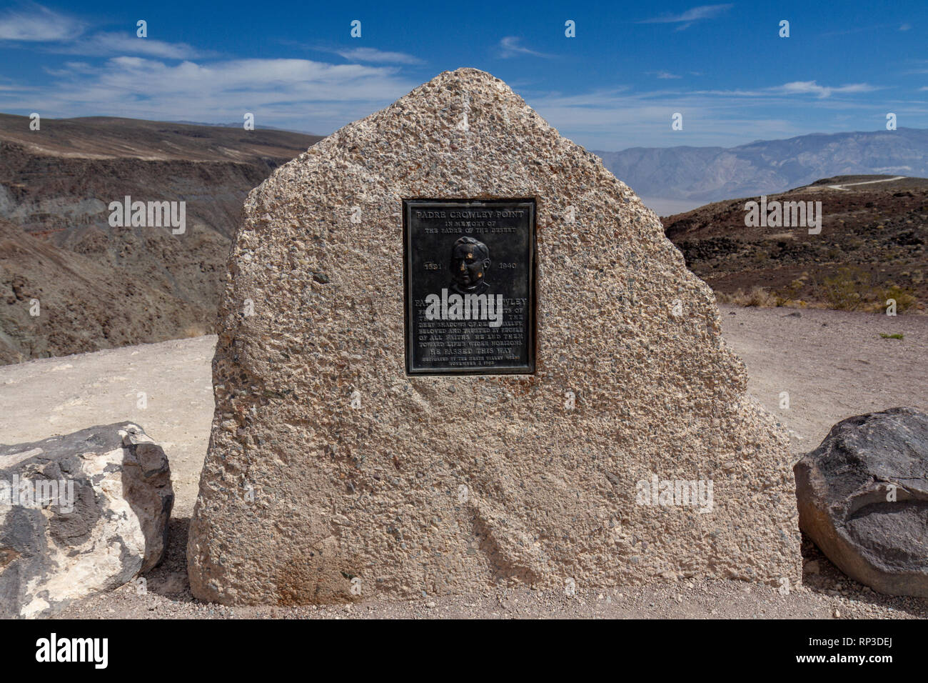 Father Crowley Overlook marker Rainbow Canyon (the 'Star Wars Canyon') towards Death Valley, Death Valley National Park, CA, USA - Stock Image