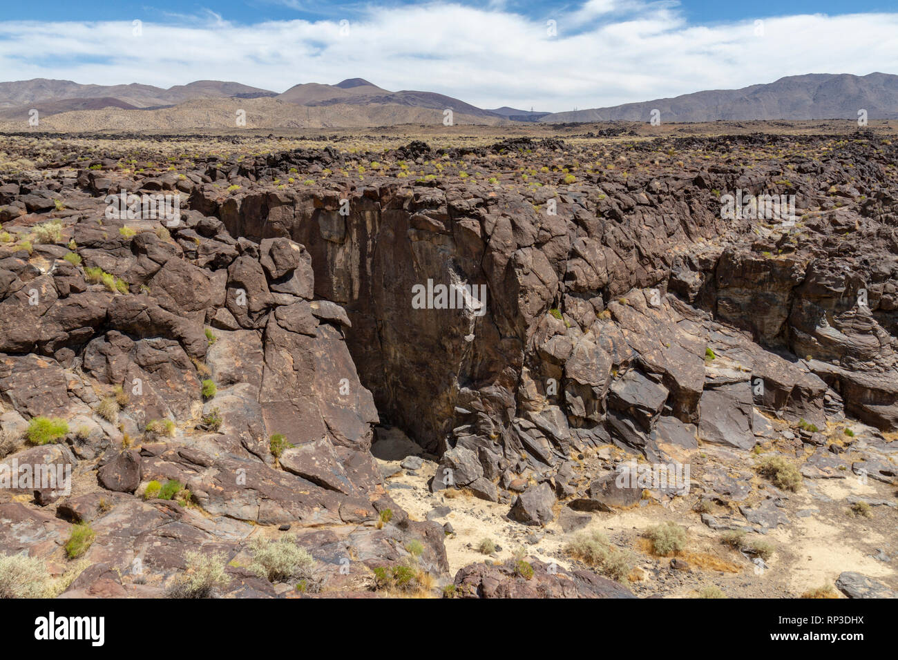 The Fossil Falls, a unique volcanic feature near Little Lake, California, United States. - Stock Image
