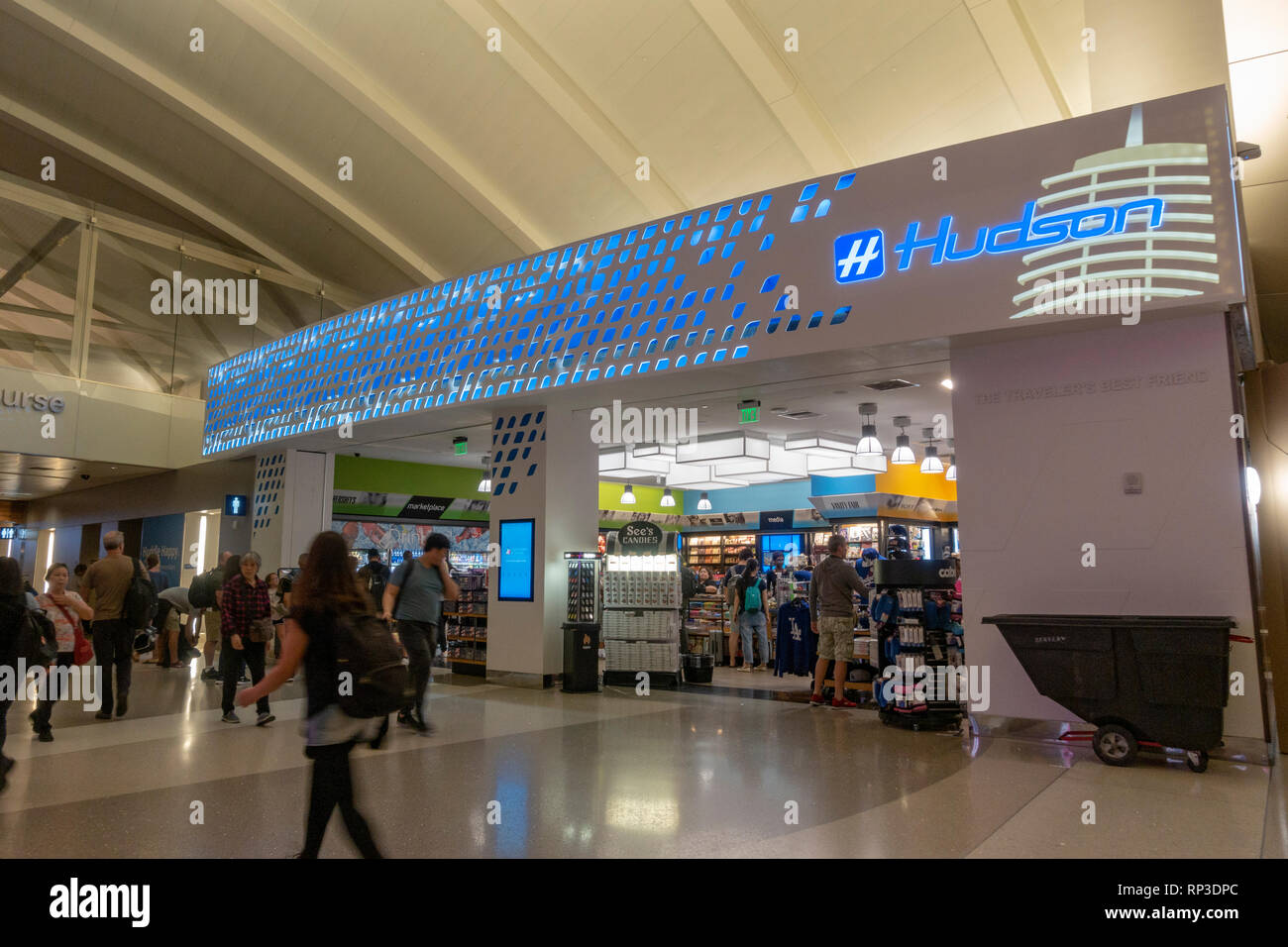 A branch of Hudson Booksellers in Los Angeles International Airport (LAX), California, United States. - Stock Image